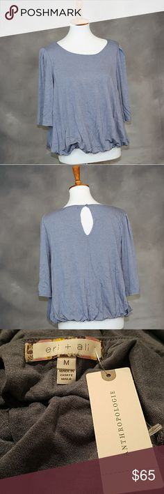 NWT Anthropologie blue bubble hem blouse. M NWT Anthropologie blue bubble hem blouse. Keyhole back detail. Soft and comfy. Size M. Anthropologie Tops Blouses