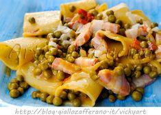Pasta con piselli e pancetta con asiago vickyart arte in cucina