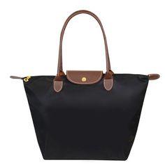 Women Long Nylon Vintage Shoulder Handbags Folding Tote Bag PU Handle Shopping School Champagne Bag