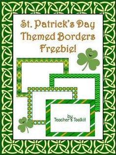 {Freebie} St. Patrick's Day Themed Borders Clip Art Commercial Use OK