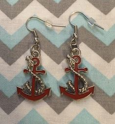 Enamel Red Silver ANCHOR Earrings Fish Hook Dangle Earring | Etsy Anchor Earrings, Fish Hook Earrings, Dangle Earrings, Anchor Charm, Unisex Gifts, Happy Shopping, Jewerly, Dangles, Handmade Items