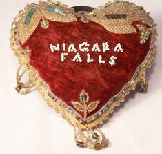 Antique Iroquois Beaded Velvet Heart Pin Cushion Niagara Falls Victorian Era  #Iroquois