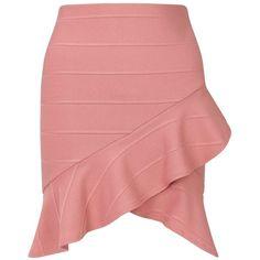 Miss Selfridge Pink Ruffle Bandage Skirt ($42) ❤ liked on Polyvore featuring skirts, pink, pink ruffle skirt, frilled skirt, pink skirt, pink frilly skirt and flouncy skirt