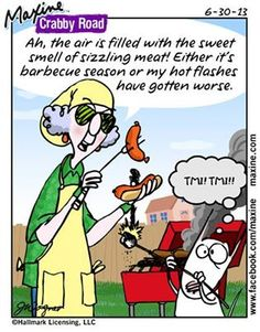 Ah, the air is filled with the sweet smell of sizzling meat! Either it's barbecue season or my hot flashes have gotten worse.