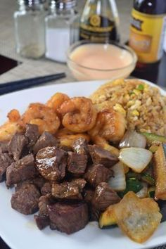 Hibachi Dinner At Home Recipes - Save money and enjoy the entire dinner in the comfort of your home. Everything from Hibachi Rice, Noodles and Vegetables to the Hibachi Steak, Chicken and Shrimp, and even including Garlic Butter and the Yum Yum Sauce and Healthy Recipes, Home Recipes, Asian Recipes, Cooking Recipes, Cooking Games, Recipes Dinner, Cooking Steak, Cooking Oil, Cooking Light