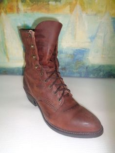 GOLDEN RETRIEVER Women's Brown Lace Up Boots 8M #GoldenRetriever #AnkleBoots