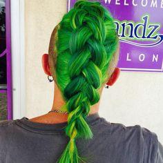 Neon Green Dutch Braid Colored Hair, Green Hair, Neon Green, Hair Trends, Envy, Dutch, Braids, Hair Color, Dreadlocks