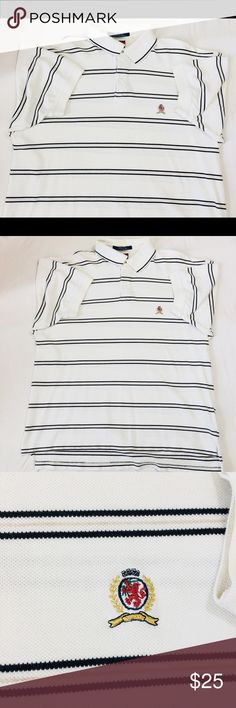 Tommy Hilfiger Men's XL Polo Striped WhiteShirt#23 You Are  buying Vtg Tommy Hilfiger Men's XL Short Sleeve Polo Striped White Golf Shirt SS  #23  It is in great Condition.  Fast shipping in the USA via USPS.  FEEDBACK: we strive to earn positive 5 star feedback for all items. And we will leave the same for all good buyers.  If you feel we deserve anything less please send us a message before leaving anything less or opening a case and we will fix the issue within 24 hours.   Thank you…