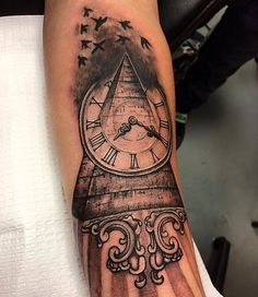 Pyramid with old clock tattoo #pyramidtattoo #clocktattoo #customtattoo Figure 8 Ink Studios offers excellent customer service designing unique and original tattoos reflecting the client's personality and style.