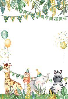 Safari Theme Birthday, Baby Boy 1st Birthday Party, Animal Birthday, Birthday Ideas, Birthday Cake, Invitation Fete, Safari Invitations, Party Invitations Kids, Happy Birthday Greetings
