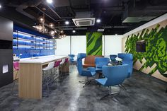 A new community workspace for Amadeus and Navitaire Office Floor, Office Lounge, Jeepney, New Community, World Cities, Manila, Game Room, Green Walls, Flooring