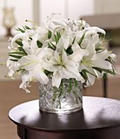 White stargazer lilies delivered in a modern circular vase