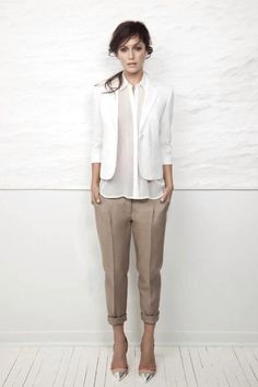Office outfit -- would my khaki crops look better turned up twice? They look dumpy these days...