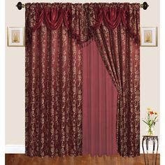 Astoria Grand Loyd Nature Room Darkening Thermal Rod Pocket Curtain Panels Curtain Color: Burgundy, Size per Panel: W x L Nature Room, Rod Pocket Curtains, Colorful Curtains, Panel Curtains, Floral Room, Rod Pocket Curtain Panels, Curtains, Room Darkening, Classic Curtains