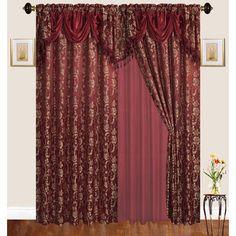 Astoria Grand Loyd Nature Room Darkening Thermal Rod Pocket Curtain Panels Curtain Color: Burgundy, Size per Panel: W x L Burgundy Living Room, Rod Pocket Curtains, Room Darkening, Floral Room, Curtains, Panel Curtains, Rod Pocket Curtain Panels, Classic Curtains, Thermal Curtains