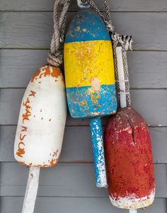 Lobster buoys in Kennebunk, Maine. One of the best parts of any Maine vacation is the abundance of tasty lobster rolls and other lobster dishes at every restaurant and roadside shack in the state.  Photo by Andrew Rhodes.