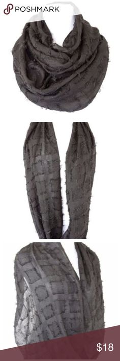 """B36 Black Raw Edge Square Infinity Scarf ‼️ PRICE FIRM UNLESS BUNDLED WITH OTHER ITEMS FROM MY CLOSET ‼️   Raw Edge Fabric Infinity Scarf  Fabulous soft fabric raw edge infinity scarf.  Versatile black.  Soft fabric.  Machine washable.  33"""" long & 18"""" wide.  Perfect for travel.  Dress up any outfit day or night.   So popular and worn by many Hollywood stars for a small fraction of the cost.  Please check my closet for many more items including clothing and jewelry. Accessories Scarves…"""