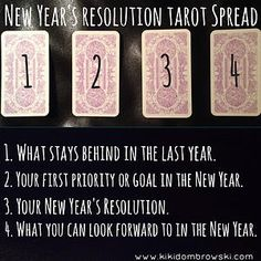 New Year's Resolution Tarot Spread. Now is the time we start to consider what we want to accomplish in the next year. We also contemplate the changes and transformations we wish to see in ourselves and our lives. Here is a little tarot spread to try for this evening or tomorrow to help you discover the best resolutions and goals for the coming year. #tarot #tarotspread #newyear #resolution #nye