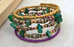 Paper bead memory wire bracelet  Green Purple Yellow by stillrain