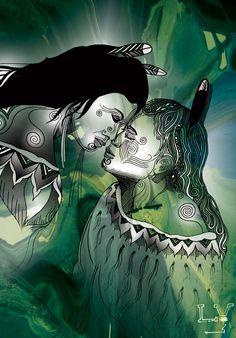 Maori design, black and white, green leafy background - nz focused?