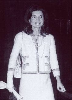 """Wearing the famous """"Paperclip Necklace"""" by Coco Chanel. Jackie had wanted one for years but Coco only made a very small number. One finally came up for auction & Jackie paid whatever she had to to win!!"""