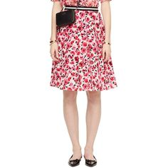 Kate Spade Mini Rose Pleated Skirt ($328) ❤ liked on Polyvore featuring skirts, mini skirts, pink floral skirt, kate spade, flower print skirt, floral skirt and evening skirts