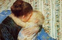 """Mary Cassat, """"Mother and Child (The Goodnight Hug)"""" (1880), pastel on paper."""