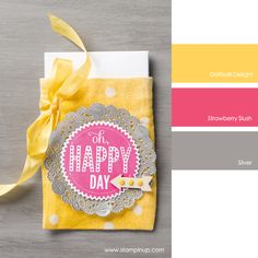 Stampin' Up! Color Combo: Daffodil Delight, Strawberry Slush and Silver #stampinupcolorcombos