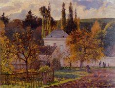 "Camille Pissarro (1830-1903) ~ ""Maison Bourgeoise l'Hermitage, Pontoise"", 1873 ~ Huile sur Toile. 20 X 26"". Kunstmuseum, St. Gallen, Switzerland."