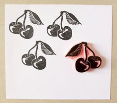 Here is a cute rubber stamp of cherries to make summer patterns in paper gift wrap, cards, envelopes, you name it!  ❋ Size of stamp: 1 3/4 x 1 1/2 approx.  ❋ Care: For frequent use just wipe down with moist baby tissue.  ❋ Made to order. ❋ It comes unmounted, mounted on wood or mounted