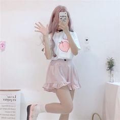 Buy Shinsei Short-Sleeve Peach Print T-Shirt / Ruffled Shorts | YesStyle