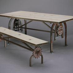 "Wood from a family barn (built in 1880) and metal components from old, unused farm machinery (circa 1930s) were the inspiration for this 36"" x 72"" DIY dining table. 2013 TOH Dont Buy It, DIY It! Contest 