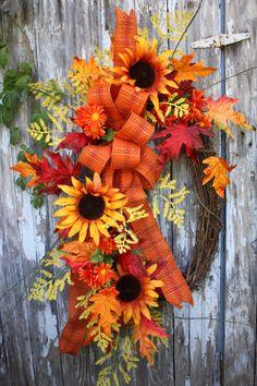 Fall Wreath, Sunflowers, Plaid Ribbon, Leaves, Oval Wreath