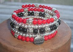 Hey, I found this really awesome Etsy listing at https://www.etsy.com/listing/212354834/red-silver-and-black-bracelet-memory