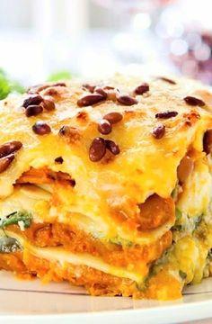 Low FODMAP Recipe and Gluten Free Recipe - Roast pumpkin & spinach lasagne