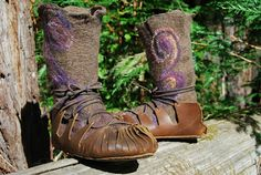 Felt boots with unique leather soles.  Made by Terry Heintz of i felt like it.