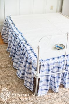 Diy no sew bed skirt tutorial. This is the kind of thing you can no-sew your way through and no one will ever k...