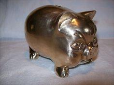 "VINTAGE CAST BRASS ""PIG"" PIGGY BANK"