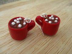 Hot Chocolate Mug Earrings Handmade Polymer by FlourCityCharms