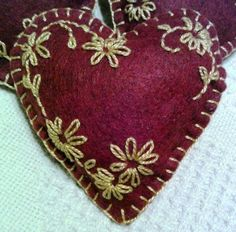 Folk Art Wool Blend Felt Christmas Floral Heart Ornament by JylMilnerCreates.  $7.50 USD.  Save 10% on any purchase from  my shop with coupon code PIN10.