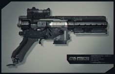 """FINALLY! A blaster concept that fits what I envision for The Rim! Sleek, non-modern, shrouded barrel, and even a magazine! perfection! - Gustavo Mendonca's """"Mentor Blaster"""" concept"""