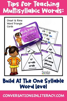 Top 3 Tips for Teaching Multisyllabic Words in the elementary classroom. Hands on phonics activities with word triangles that build fluency with vowel sounds. #phonics #multisyllabicwords #elementary #wordwork #readinginterventions #conversationsinliteracy #secondgrade #thirdgrade #fourthgrade #fifthgrade 2nd grade, 3rd grade, 4th grade, 5th grade