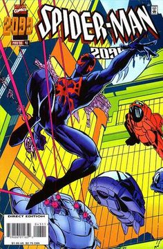 Spider-Man 2099 # 43 by Rick Leonardi Marvel Comic Books, Comic Books Art, Marvel Comics, Book Art, Marvel 2099, American Comics, Amazing Spider, Comic Covers, Spiderman