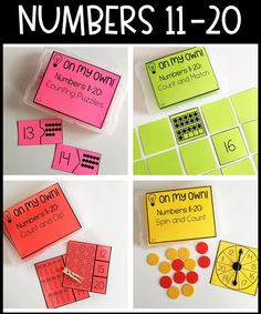 On My Own! {Mini Math Activities for Kindergarten - Set 1} | If you're on the lookout for a great download where your Kindergarten students can work independently on various math skills, you're love this! You get 16 mini math activities. They're great for independent math centers or stations, math groups, partner work, early or fast finishers, morning work, and more. You get numbers to 10, numbers 11-20, writing numbers to 10, & writing numbers 11-20. Try them with your kinders today!