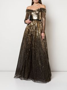 Marchesa Notte off-the-shoulder Sequin Gown - Farfetch Marchesa, Day Dresses, Prom Dresses, Formal Dresses, Pretty Dresses, Beautiful Dresses, Full Gown, Gown Skirt, Pleated Skirt