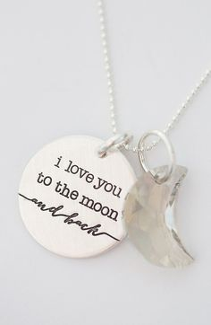 Look at this Sterling Silver 'I Love You to the Moon' Pendant Necklace by FIVE Jewelry Box, Jewelry Accessories, Fashion Accessories, Jewlery, Silver Jewelry, Silver Necklaces, Silver Ring, Jewelry Design, Back Necklace