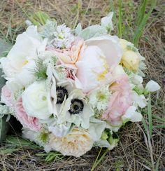 My summer wedding bouquet-- Peonies, ranunculus, Anemones, garden roses, lambs ear. Bouquet by- Angela Austin #aafloraldesign
