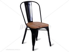 Tolix Chair Replica Timber Wood Seat by Xavier Pauchard - Black ** (SET OF 4)