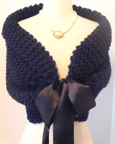 Bride Bolero / Wedding Shawl / Shrug / Bridal Shawl / Navy Blue Shawl / Custom Made. $85.00, via Etsy.