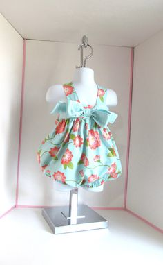 Baby romper- sz 12 to 18mo- baby sunsuit- baby girl clothes- baby girl clothing- baby girl romper- mint green and coral.